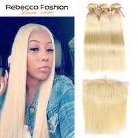 Rebecca Fashion 613 Honey Blonde Bundles With Frontal Human Hair Bundles Peruvian Straight Hair 3/4 Bundles With Frontal Closure
