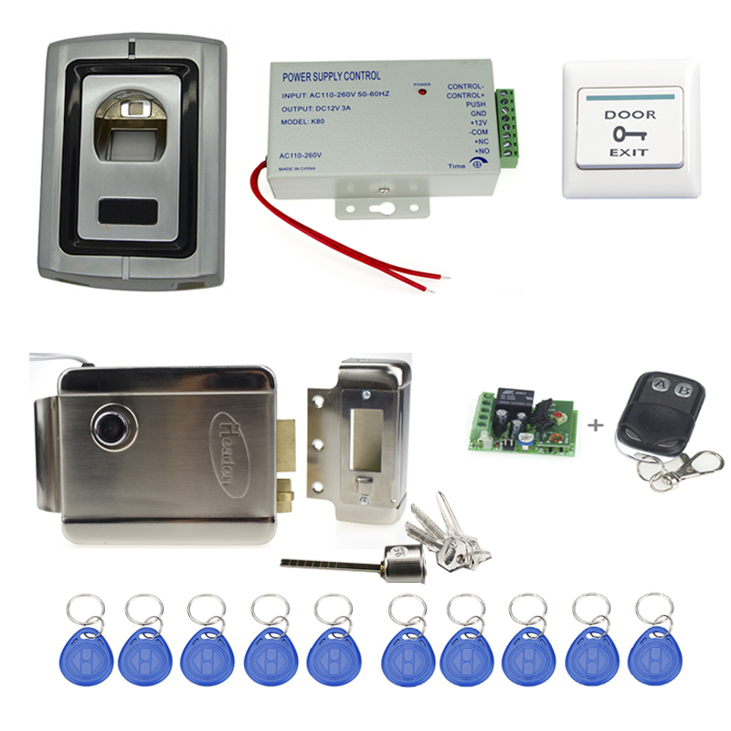 full fingerprint access control F007II+power supply+electronic magnetic lock+door exit button+keyfobs+wireless remote control biometric fingerprint access controller tcp ip fingerprint door access control reader