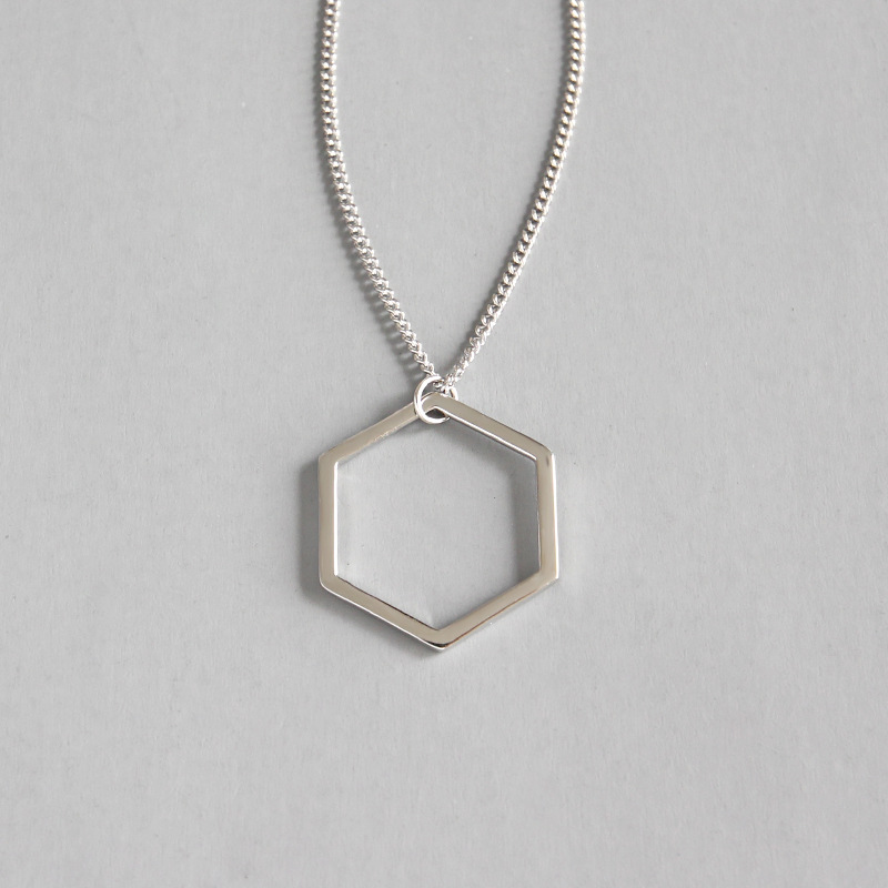 Sweater Chain Necklaces Simple Geometric Hexagon Women's Pendant Necklace 925 Sterling Silver Fine Jewelry for Women WDN015