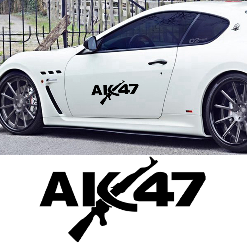 CK2810#38*20cm AK 47 Funny Car Sticker Vinyl Decal Silver/black Car Auto Stickers For Car Bumper Window Car Decorations