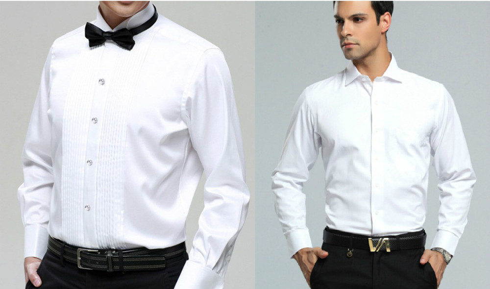 Men \'s long sleeved shirt groom wedding dress swallow collar French ...