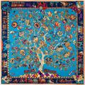 2016 Spring Fashion Tree Of Life Silk Twill Square Scarf Vintage India Totem Kerchief Woman Hand Rolled Foulard For Summer Wrap