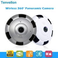 Tenvellon домашняя камера безопасности 360 градусов панорамный объектив «рыбий глаз» WiFi ip-камера видеонаблюдения камера видеонаблюдения 960PH пан...