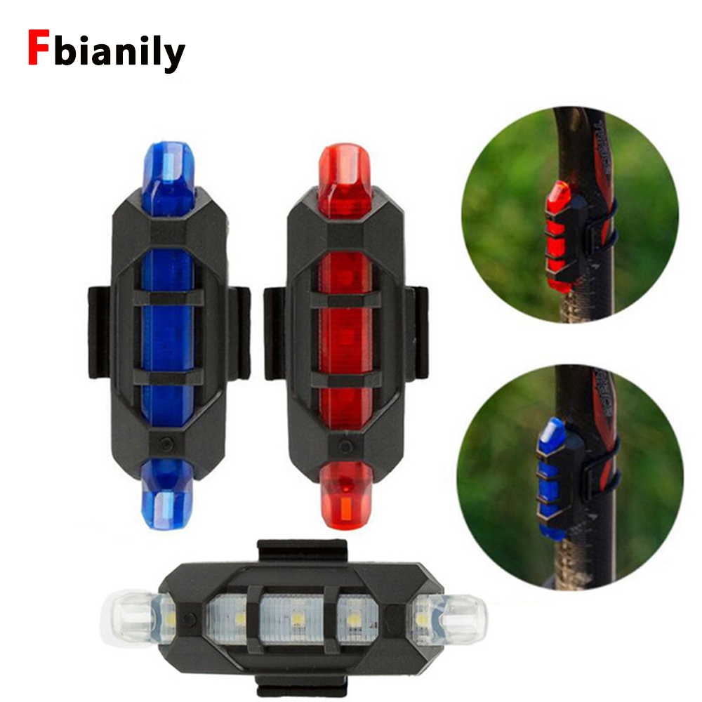 Bicycle light tail light USB charging bicycle riding accessories mountain bike led warning light bicycle tail light in Indicator Lights from Lights Lighting