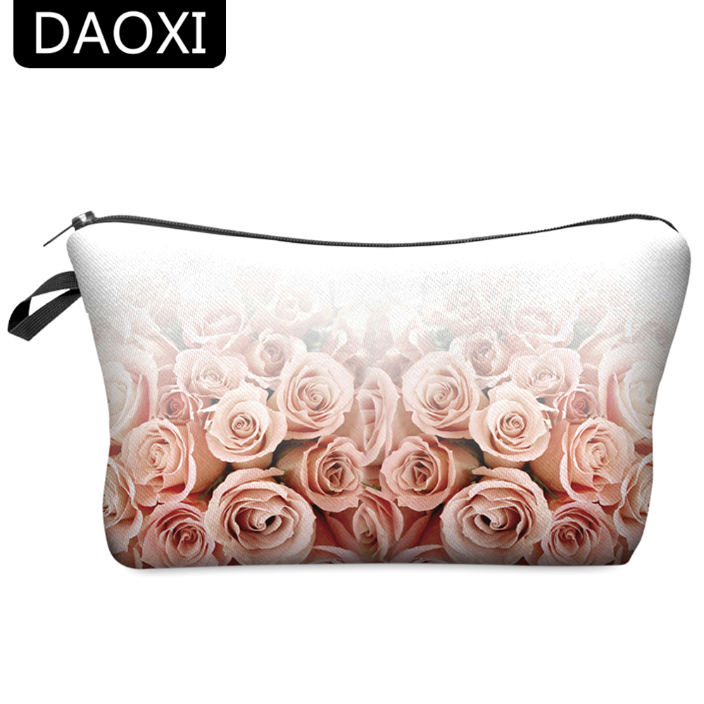 DAOXI 3D Flower Printing Portable Cosmetic Bag Storage Women for Traveling Makeup Necessaries image