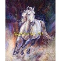 בעלי החיים מצוירים ביד ציור אמנות מודרנית סוס לרוץ כמו רוח ציור שמן על בד אמנות בית תפאורה סלון מסדרון