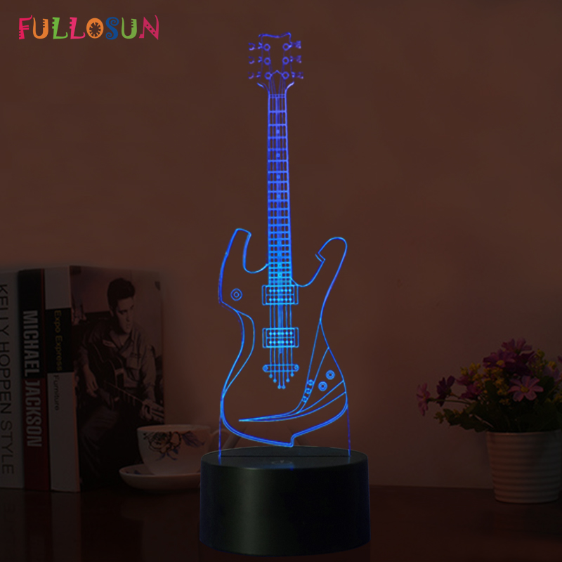 Creative 3D Night Lamp Guitar Model 3D Illusion Lamp LED USB Touch Sensor Night Lights as Christmas Gifts 3d led lamp usb night love heart