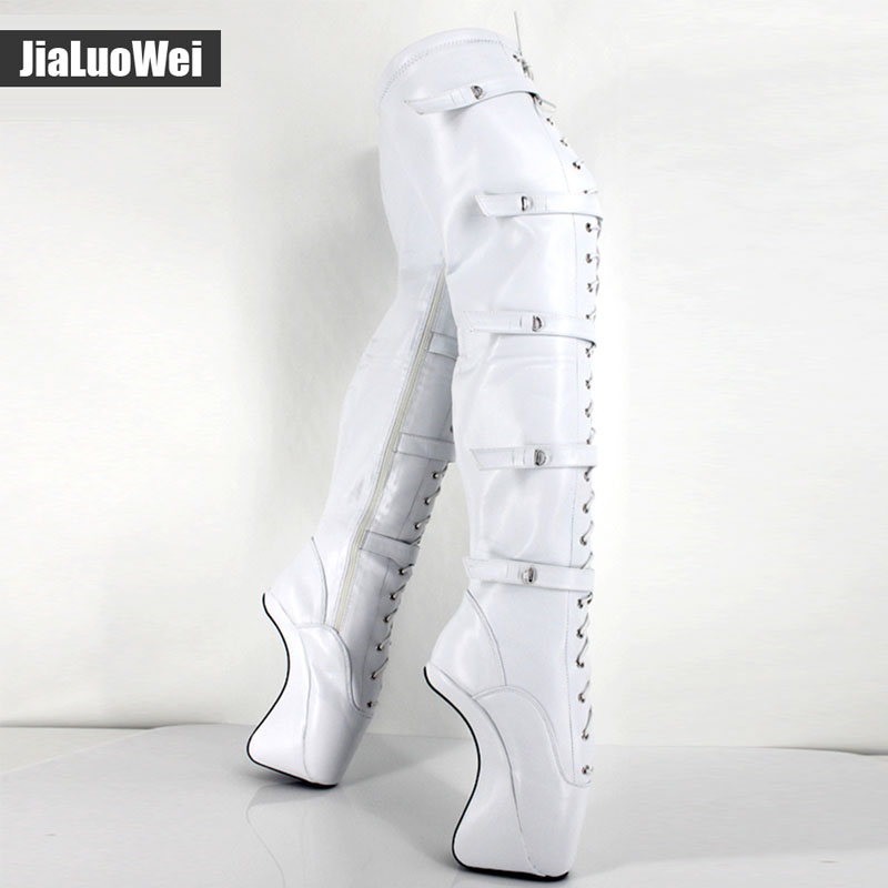 jialuowei Lace up buckles Ballet Boots 18cm/7 Extreme High heel Hoof Fashion sexy Fetish Zip over knee thigh high long boots jialuowei 7 super high heel hoof heelless ballet boots transparent toe lace up zip buckle straps sexy fetish over knee boots