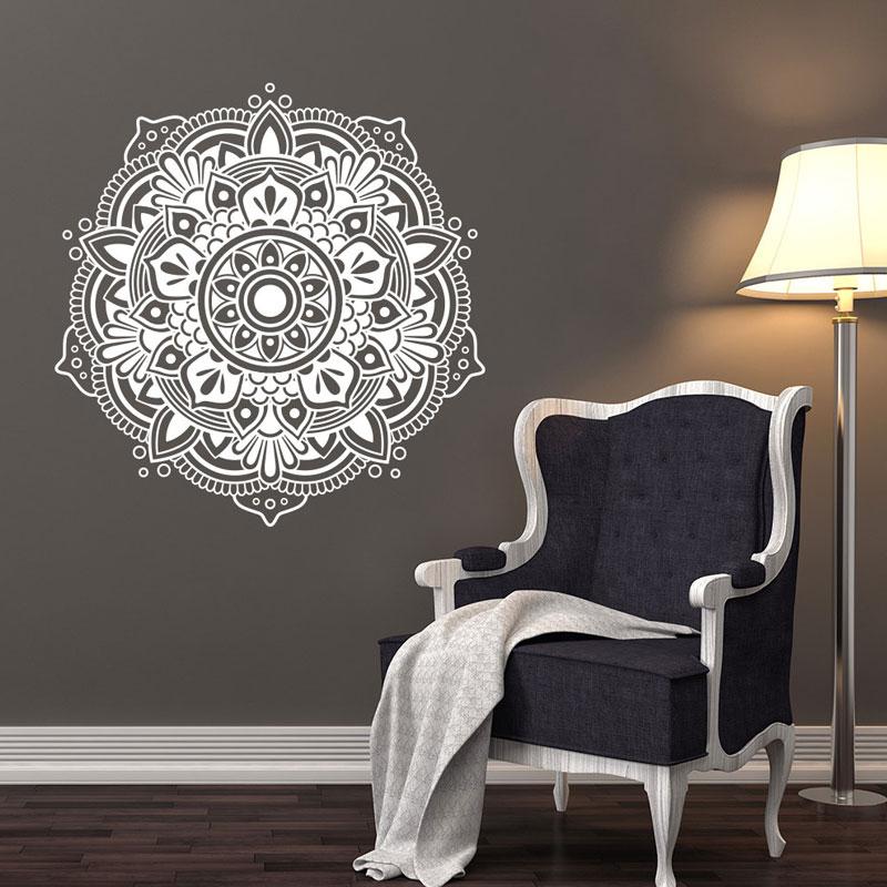 Mandala Wall Decals, Bedroom Yoga Studio Decor, Art, Bohemian Decor for Bedroom, Mehndi Sticker MT11