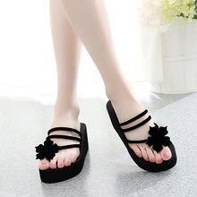 Summer New High Heels Wedge Shoes Women Beach Flip Flops Thick Bottom  Ladies Slippers Sweet Flowers Clip Toe Outdoor Sandals bb0ba95dc66e