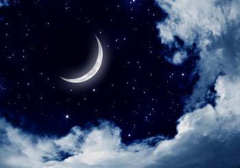 Toile De Fond En Vinyle Blanc | Toile De Fond Murale Tissu De Vinyle De Haute Qualité Imprimé Par Ordinateur Ciel De Nuit Croissant De Lune étoiles Fond De Nuages Blancs