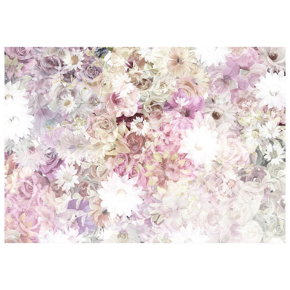 5x3ft Floral Wall Backdrops Watercolor Oil Painting Purple Flowers