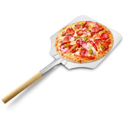 Nuevo aluminio Utensilios para bordes de pizza mango de madera hoja de aluminio 12