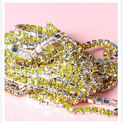 1 ярд/шт, 30 цветов, стеклянные хрустальные стразы на цепочке, Серебряное дно, Пришивные цепочки для рукоделия, украшения сумок для одежды