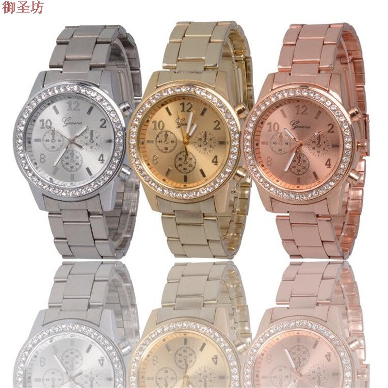 Geneva Rose Gold Stainless Steel Strap Digital Ladies Luxury Quartz Watch Relojes Mujer 2017 Women Watches Montre Femme Uhr B240 tezer ladies fashion quartz watch women leather casual dress watches rose gold crystal relojes mujer montre femme ab2004