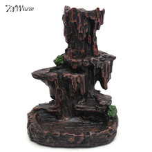 Kiwarm Ceramic Mountain Stream Waterfall Incense Burner Smoke Backflow Censer Holder With 7 Cones for Home Decor Ornament