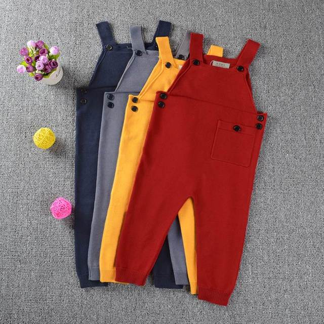 c04f58262ca 1-5Y Autumn Spring Unisex Baby Pockets Knitted Rompers Overalls Jumpsuits  Boys Girls Candy Color