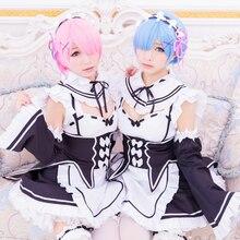 Nuevo Anime Re: La Vida En Un Mundo Distinto De Cero Rem/Ram Blanco Y negro Precioso Maid Vestido Cosplay con el pelo accesorio