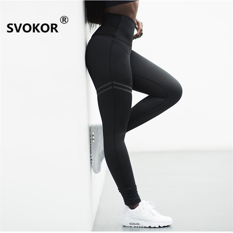 SVOKOR Casual Patchwork Fitness Leggings Women High Waist Sexy Push Up Legging Polyester Activewear Patchwork Solid Leggins