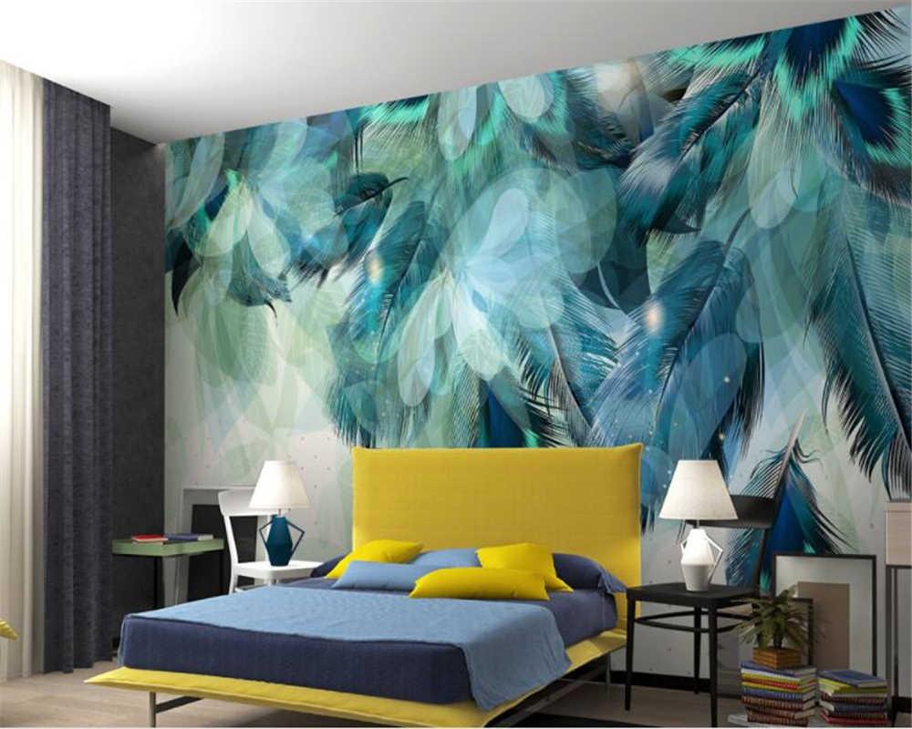 ورق حائط صورة Beibehang أنيق عتيق باللون الأزرق على شكل ريشة تلفزيون غرفة نوم رئيسية بجانب السرير ورق حائط ثلاثي الأبعاد