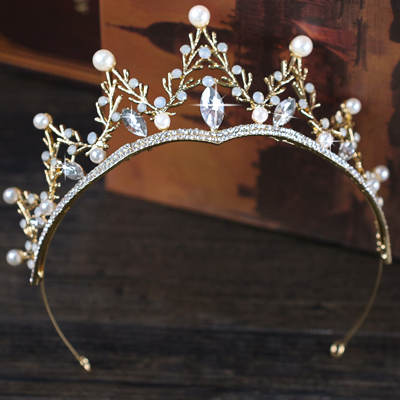 Vintge Gold Pearl Crystal Wedding tiara Queen Crown Bridal Hair Accessories Headpiece Women Hair Jewelry Headdress HG235