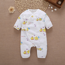 Baby clothes Coveralls String Closure O-Neck Long-Sleeves Cute Floral Cool Absorbent Breathable Jumpsuits 0-6 Months