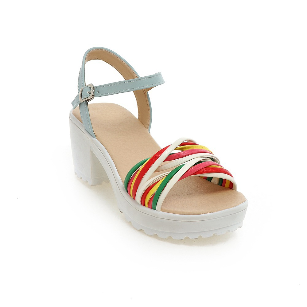 f9b96b9ad7e US $37.2 |Women platform sandals ankle strap open toe women chunky sandals  mixed colors rainbow sandals size 33 43 LD X20-in Women's Sandals from ...