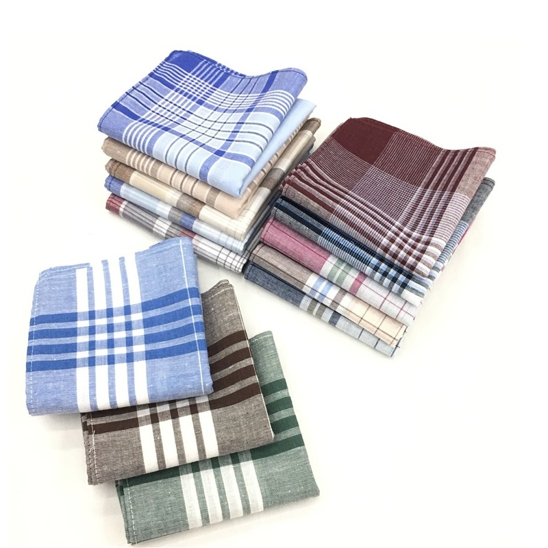 12pcs/lot Wholesale Handkerchiefs 100% Cotton Hanky Classic Plaid Check Mocket Handkerchiefs For Men 40*40cm