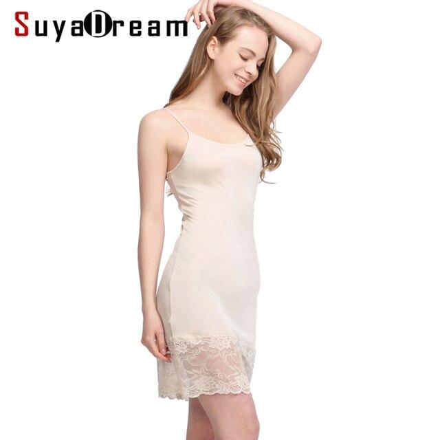 Women Full Slips 100% Natural SILK Lace slip Basic Anti emptied slips Adjustable shoulder Solid Nude Black White