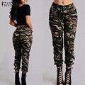 ZANZEA 2017 Calças de Camuflagem Impresso Plus Size S-3XL Outono Carga Calças Calças Das Mulheres Do Exército Militar Calças de Cintura Elástica