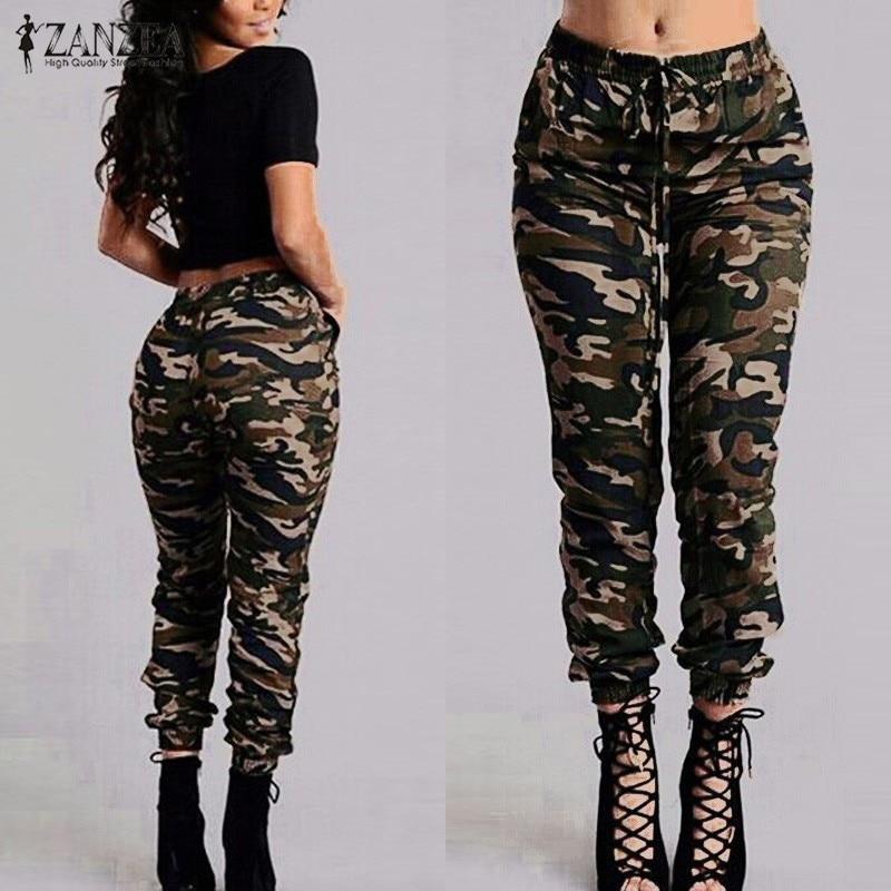 ZANZEA 2018 Camouflage nyomtatott nadrág Plusz méret S-3XL Őszi hadsereg rakomány nadrág Női nadrág Katonai rugalmas nadrág nadrág