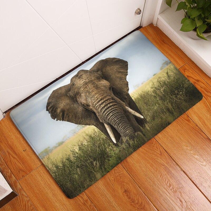 15 stylů Elefante potisků koberců Protiskluzová podlahová rohož Venkovní koberce na koberce Přední dveře Rohože 40X60cm 50x80cm
