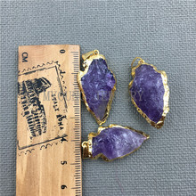 MY0405 Arrow Purple Crystal Quartz Pendant Charm,Amethysts Arrowhead Druzy Gold Cladding Necklace