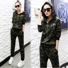 2016 Autumn Plus Size Hoodies Women Cotton Camouflage Casual Tracksuit Sportsuit Feminino Two Piece Women's Hoodie 2XL 3XL