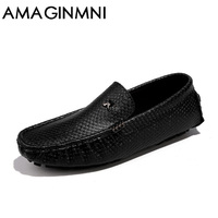 AMAGINMNI Autumn Spring Men S Casual Shoes Moccasins Leather Men Loafers Luxury Brand Fashion Male Boat