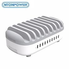 NTONPOWER estación de carga USB con acoplamiento y soporte para teléfono organizador de 10 puertos 2.4A, carga rápida para iPad/iPhone/Xiaomi