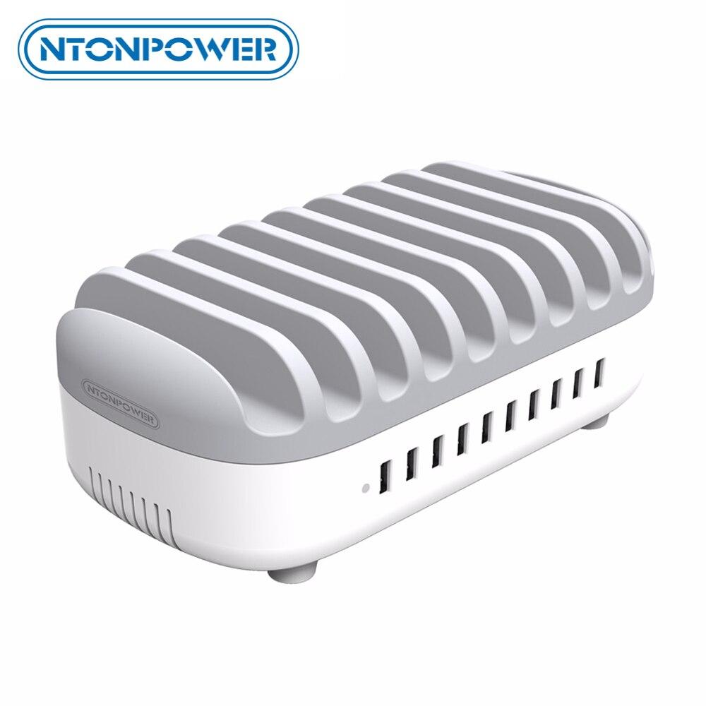 Station de chargement Multi USB de bureau NTONPOWER avec support pour téléphone organisateur 10 Ports 2.4A charge rapide pour iPad/iPhone/Xiaomi