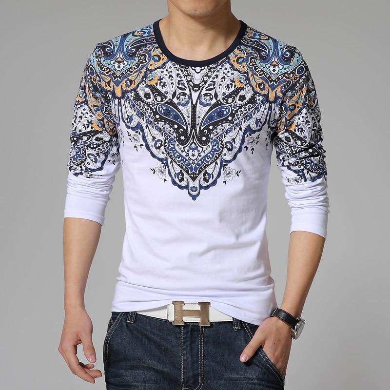 Mens t shirts new korean tshirt stylish ethnic style print for Cut shirts for men