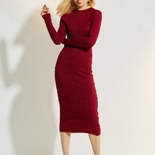 Solid Vintage Knitted Runway Dress Women Fashion Long Sleeve Slim Sexy Bandage Dress Plus Size 2018 New Red Winter Dress