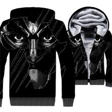 Black Panther Wakanda 3D Jacket Hop Hop Hoodie Men Cool Hooded Sweatshirt 2018 New Fashion Winter Thick Fleece Warm Zip up Coat