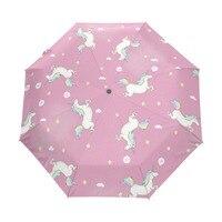 Lovely Unicorn Running Umbrella Custom Design Personalized Portable Triple Foldable Sun And Rain Umbrellas For Children