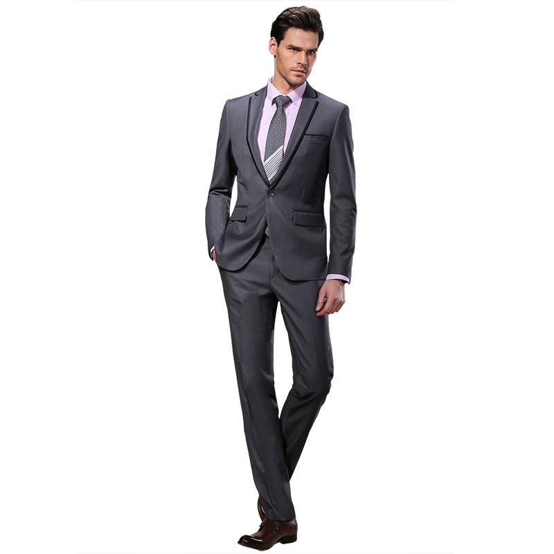 2019 DARO Mannen Past Slim Custom Fit Tuxedo Grijs pak en Broek Merk - Herenkleding - Foto 4