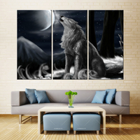 3 panel Modern Home Art Wall HD Picture Canvas printings Living Room Decoration Theme Lone Wolf whistling month Roar Moon129