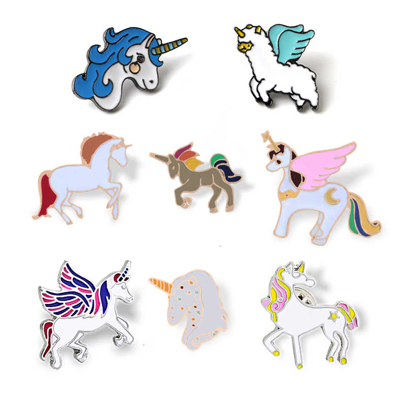 Eenhoorns Badge Cartoon Pegasus Eenhoorn Alpaca Compilatie Broches Button Pins Jas Jassen Pin Meisjes Kids Sieraden Surprise Gift