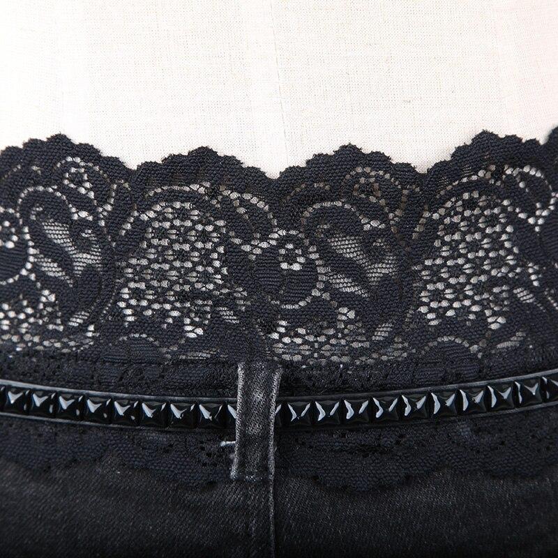 Negro Shorts Pantalones Verano Spliced Steampunk Encaje Cintura Baja Sexy Mini Cortos Moda Hot Corto Clubwear Denim Punk Mujeres ZwPzqw