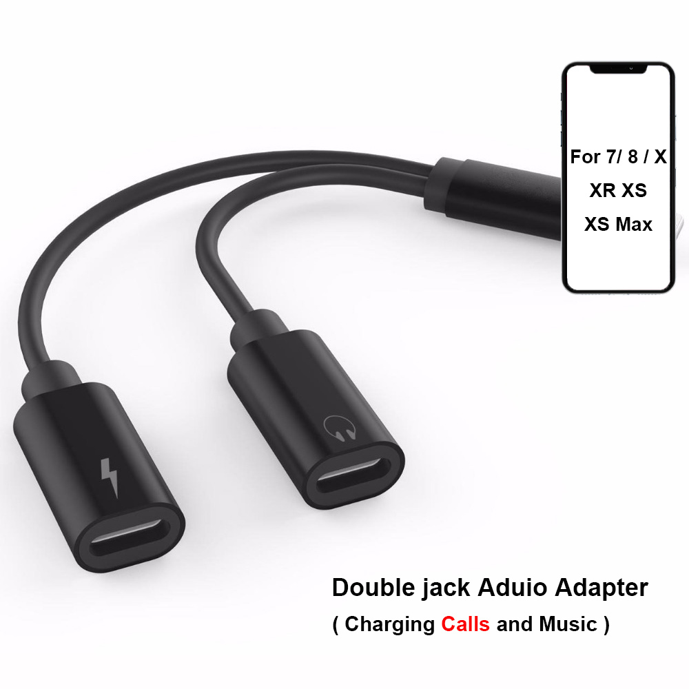 Double Jack Adapter For Lightning IPhone 7 8 X XS XR Charger Call Or Music And 3.5mm Headphone Aux Audio Converter Support IOS12