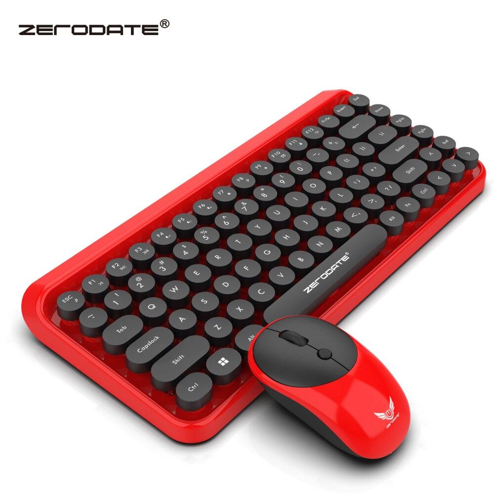 ZERODATE nouveau mode rétro sans fil clavier et souris ensemble 2.4G souris et clavier ensemble rouge style adapté pour PC ordinateurs portables