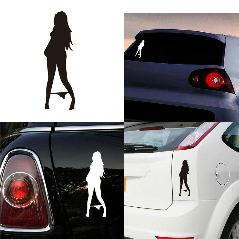 1 pc sexy girls car sticker styling decal wearing bikini super cool cars exterior accessories white black new arrival in car stickers from automobiles
