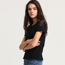 Escalier Women Solid color O-Neck Cotton T-Shirts 2017 Summer Translucent mesh Hollow out Casual Lady Fashion Short Tees Tops