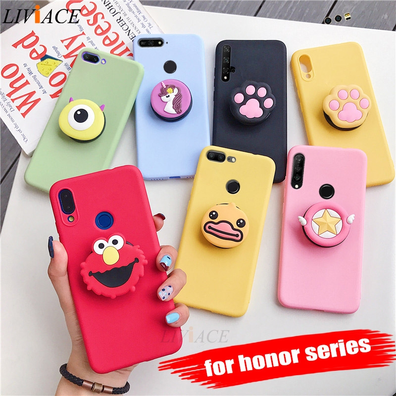 3D Silicone Cartoon Case For Huawei Honor 9 10 Lite View 20 Pro 8x Play 10i 20i Girl Cute Phone Holder Stand Soft Cover Funda